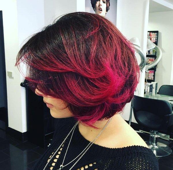 bob frisuren mit pink ombre look