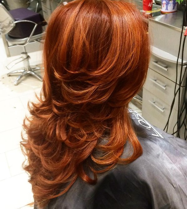 Kupferrote Haarfarbe Gestufte Frisuren