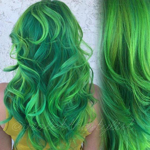 Neon Grün Haarfarbe
