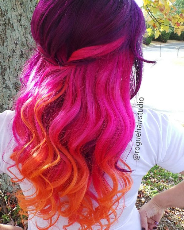 Pink Orange Lila Neonfarben für Haare