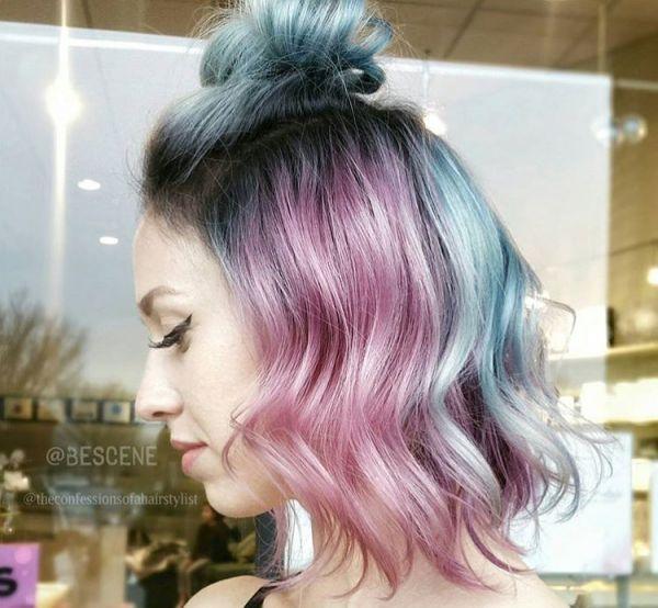 Dutt mit mittellange haaren Metallic Haarfarben