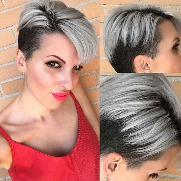 silber haarfarbe pixie cut