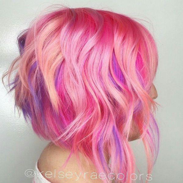 pink haarfarbe bob frisur