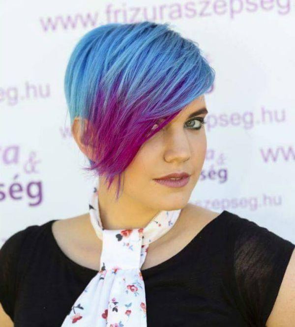 Blaue mit rote haare ombre färben