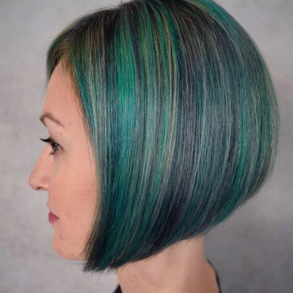 Bob frisur - Haarkreide blau grün