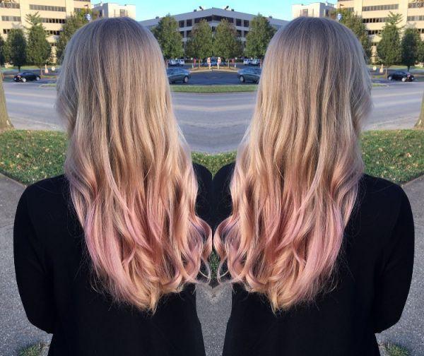 Lange haare mit Rose Gold Ombre