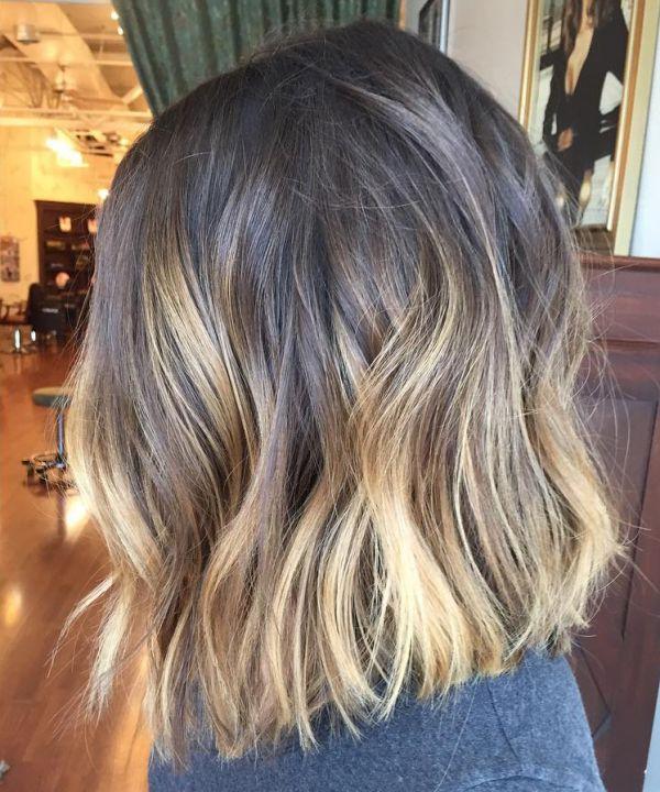 Lob Frisuren und blonde ombre Strähnen