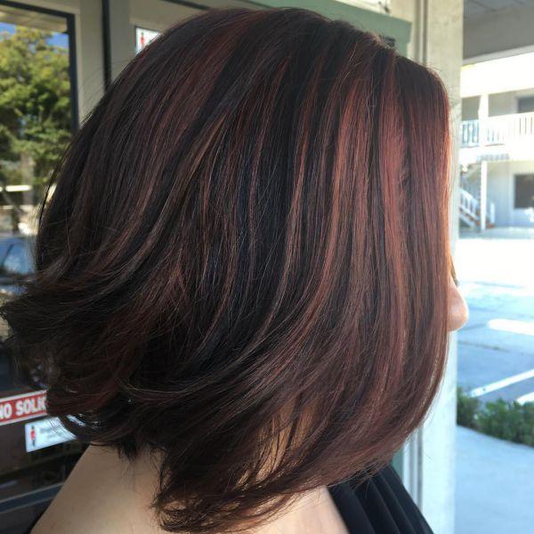 Haarfarbe braun roten strahnen