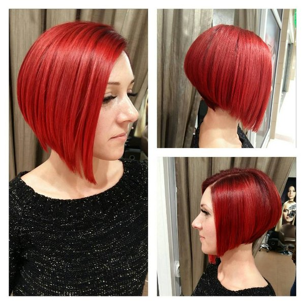Rote Asymmetrische Bob Haarschnitt